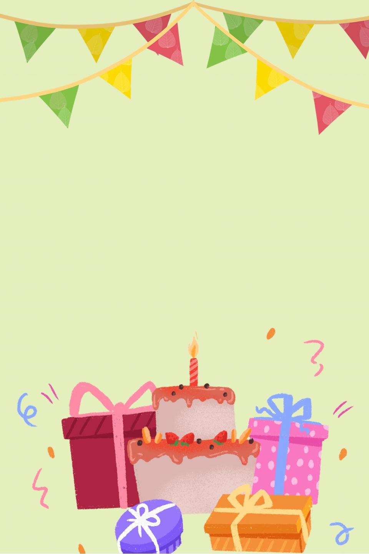 Birthday Card Poster Background, Cartoon Poster, Hand ...