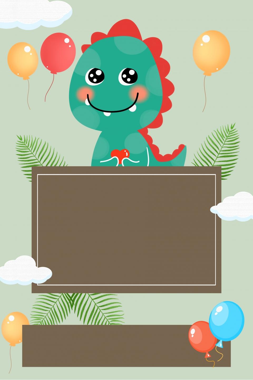 Dinosaurio De Dibujos Animados Tarjeta De Invitación De