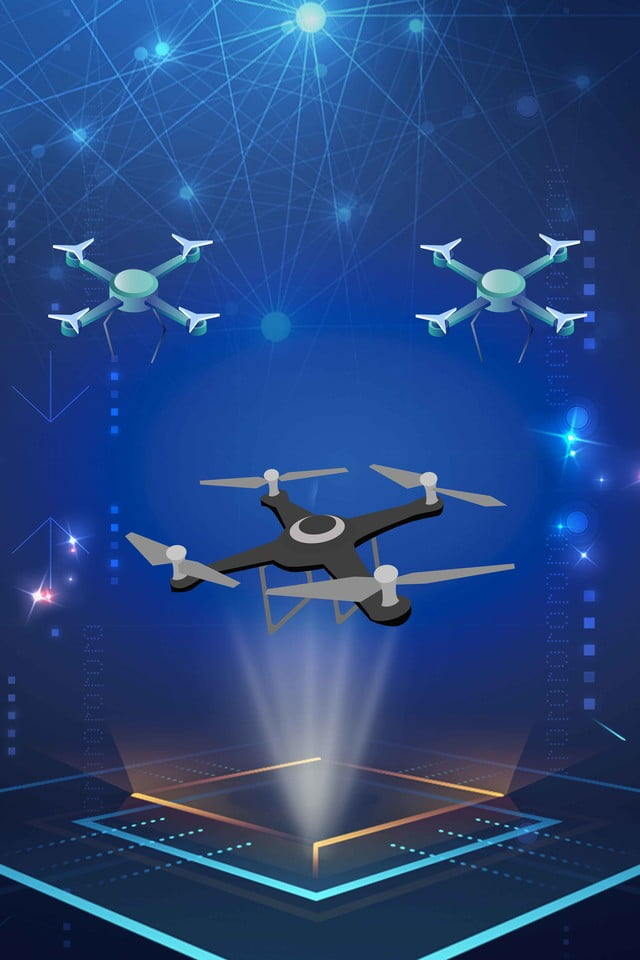 Blue Luminous Technology Drone Background Material, Drone ...