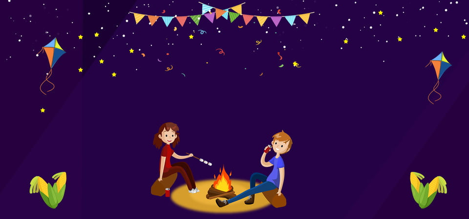 Cartoon Campfire Party Purple Celebration Banner Cartoon Bonfire Party Background Image For Free Download