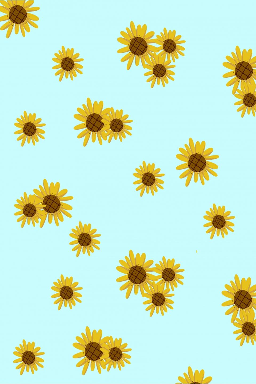 Latar Belakang Kartun Bunga Gaya Jubin Kertas Dinding Bunga
