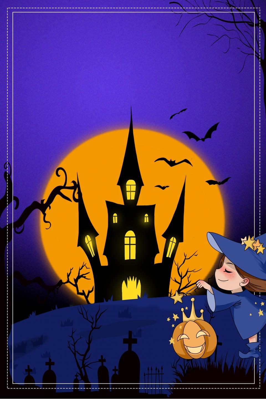 Dessin Animé Halloween Cimetière Château Chat Noir D