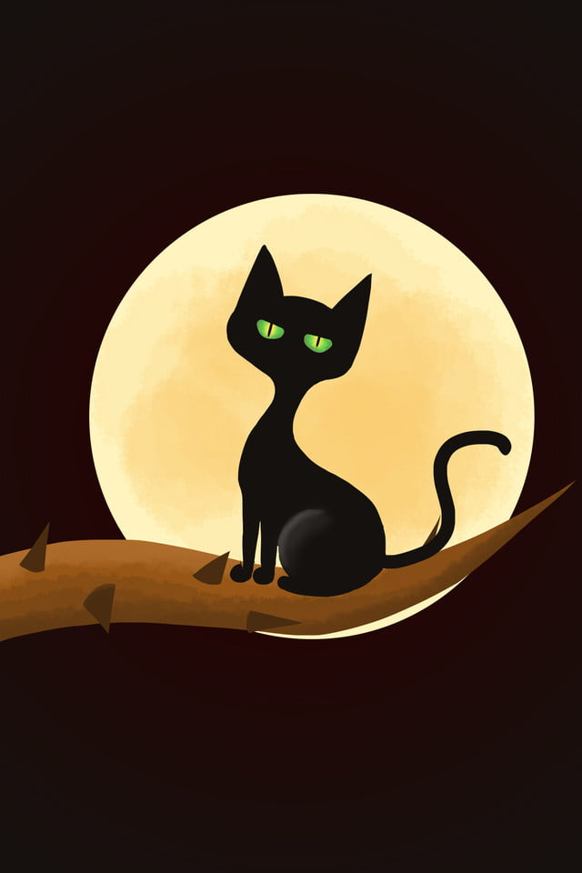 Cartoon Hand Drawn Halloween Black Cat Pumpkin Head Background Cartoon Hand Drawn Halloween Background Image For Free Download