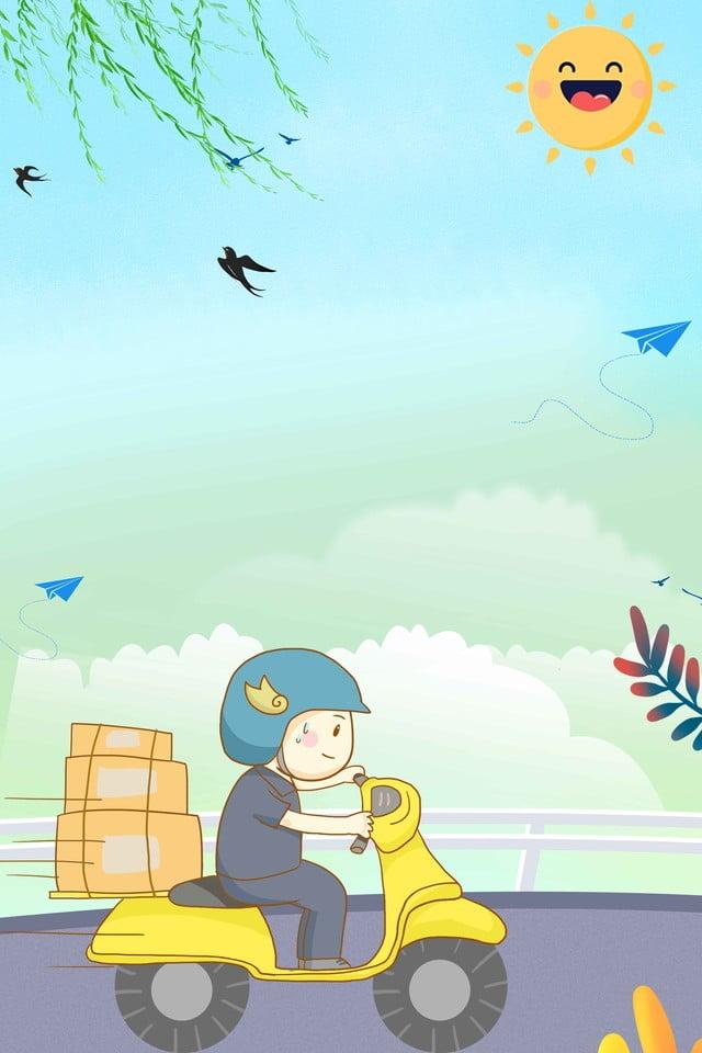 Facteur Facteur Dessin Anime Ciel Bleu Transport Courrier Postier Image De Fond Pour Le Telechargement Gratuit