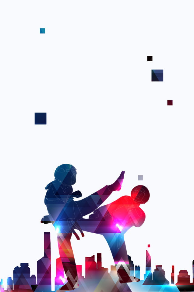 color textured architectural silhouette taekwondo poster