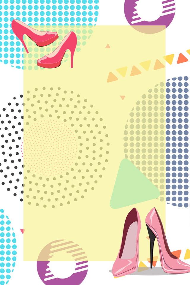 Nền Hình Học đầy Màu Sắc Giày Cao Gót Cửa Hàng Giày Nữ