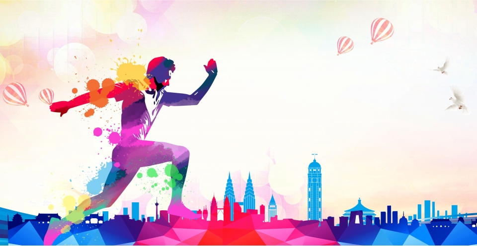Sport Wallpaper Landscape: Colorful Ink Landscape Hand Painted Sports Silhouette