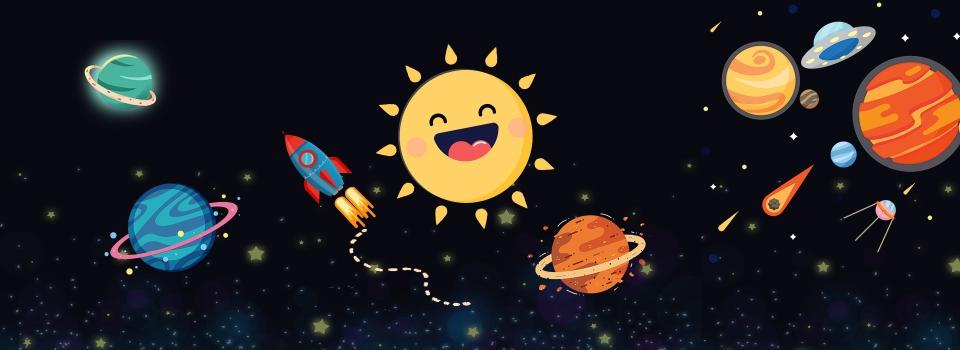 Gambar Bahan Vektor Planet Sistem Suria Kartun Yang Comel Kartun Merkuri Venus Latar Belakang Untuk Muat Turun Percuma