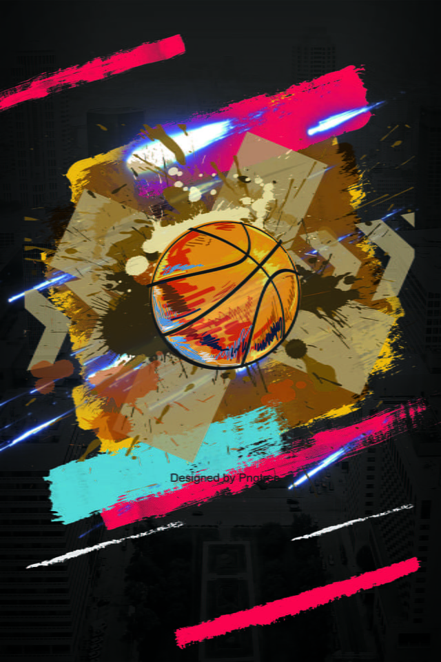 Flat Basketball Sport Poster Background Hand Drawn Flat Style