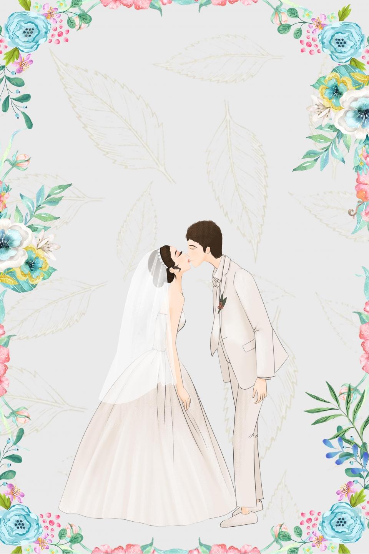 Fresh Cartoon Wedding Poster Background Wedding Perfect