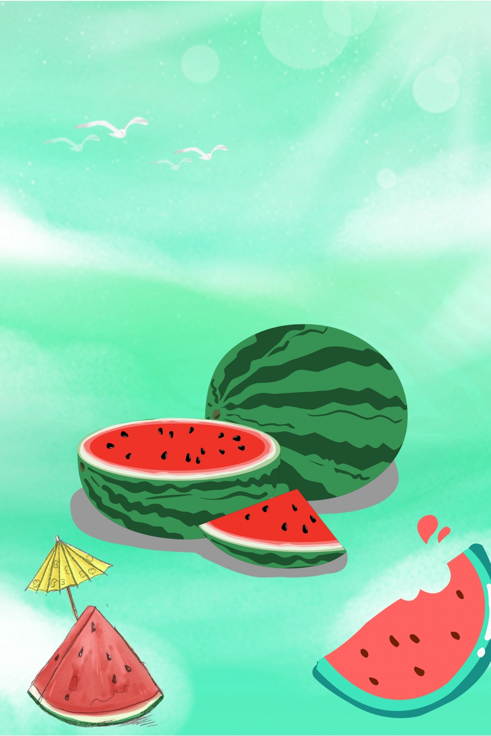 Green Cartoon Vector Watermelon Season Poster Background Watermelon Watermelon Juice Watermelon Poster Background Image For Free Download