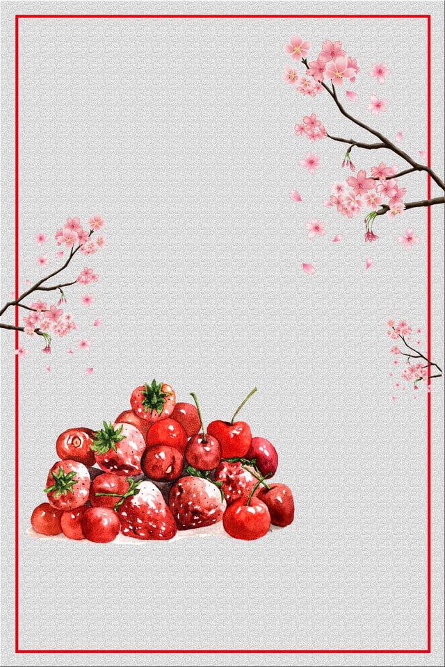 Green Natural Fruit Cherry Fresh Cherries Promotion Poster