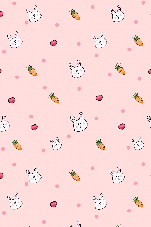 Hand Drawn Cute Bunny Wallpaper Print Ad Hand Drawn