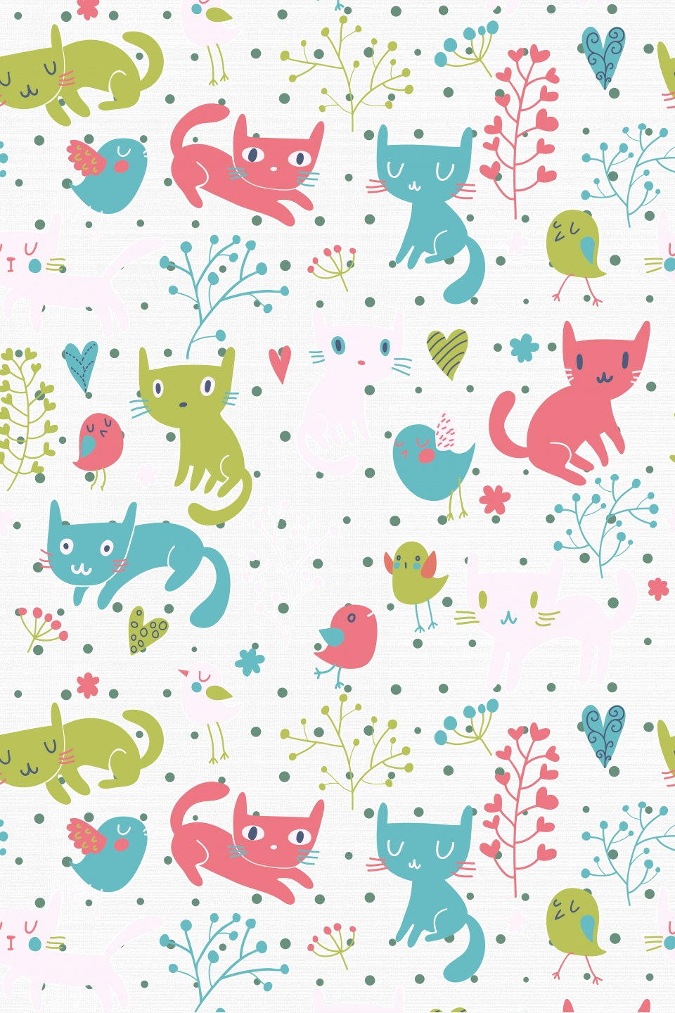 Hand Drawn Cute Cartoon Cat Tile Wallpaper Print Ads Hand Drawn Background Cute Cartoon Cat Background Image For Free Download
