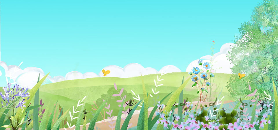 Hand Drawn Summer Garden Banner Hand Drawn Background Cartoon Background Illustration Background Image For Free Download