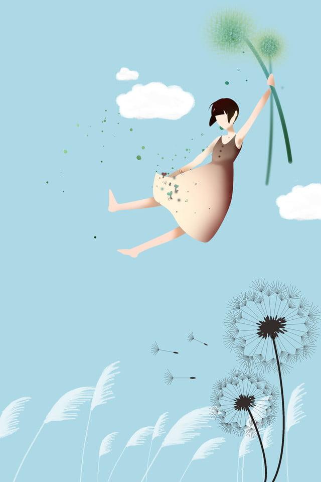 Pissenlit Petite Fille Fleur Du Soleil Bleu, Design De Fond Hd ...