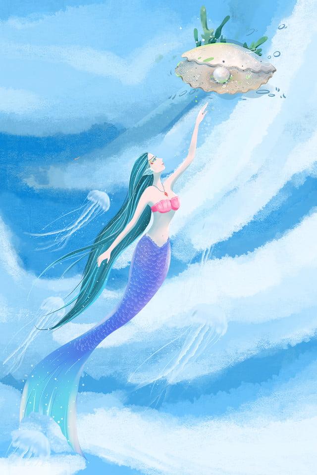 Mermaid Cartone Animato Mare Sfondo Blu Mermaid Cartone Animato