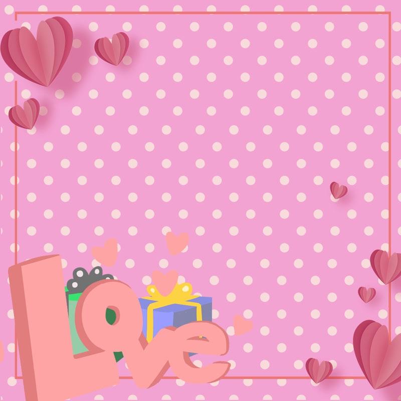 Pink Background Love Love Valentine Holiday Print