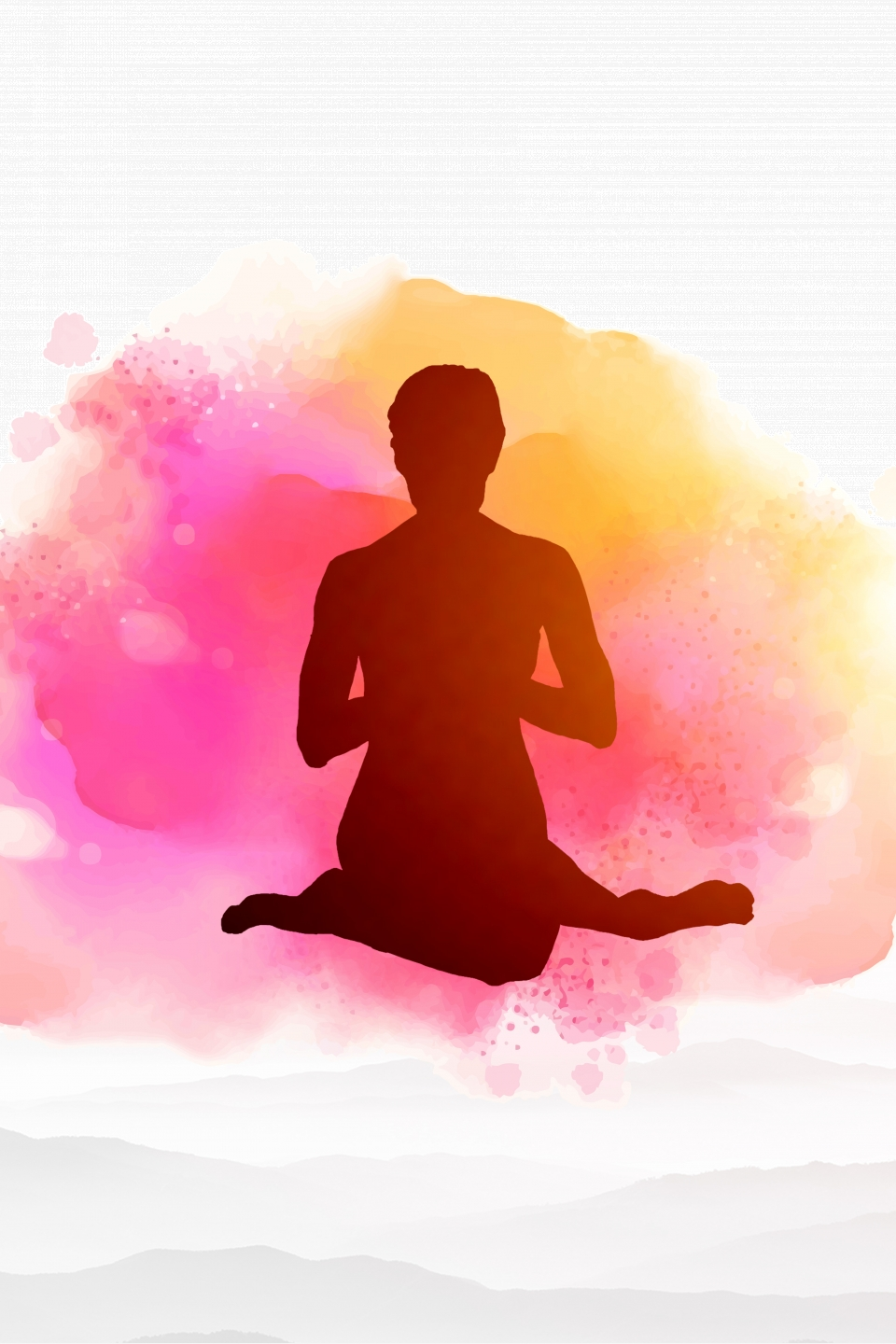 Pink Watercolor Yoga Training Class H5 Background Material Pink Watercolor Yoga Background Image For Free Download