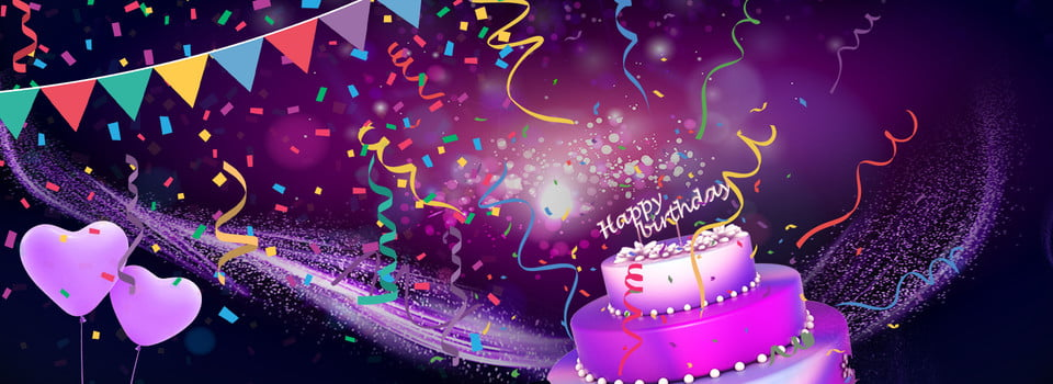 Purple Vector Sprinkles Gold Cake Birthday Party Poster