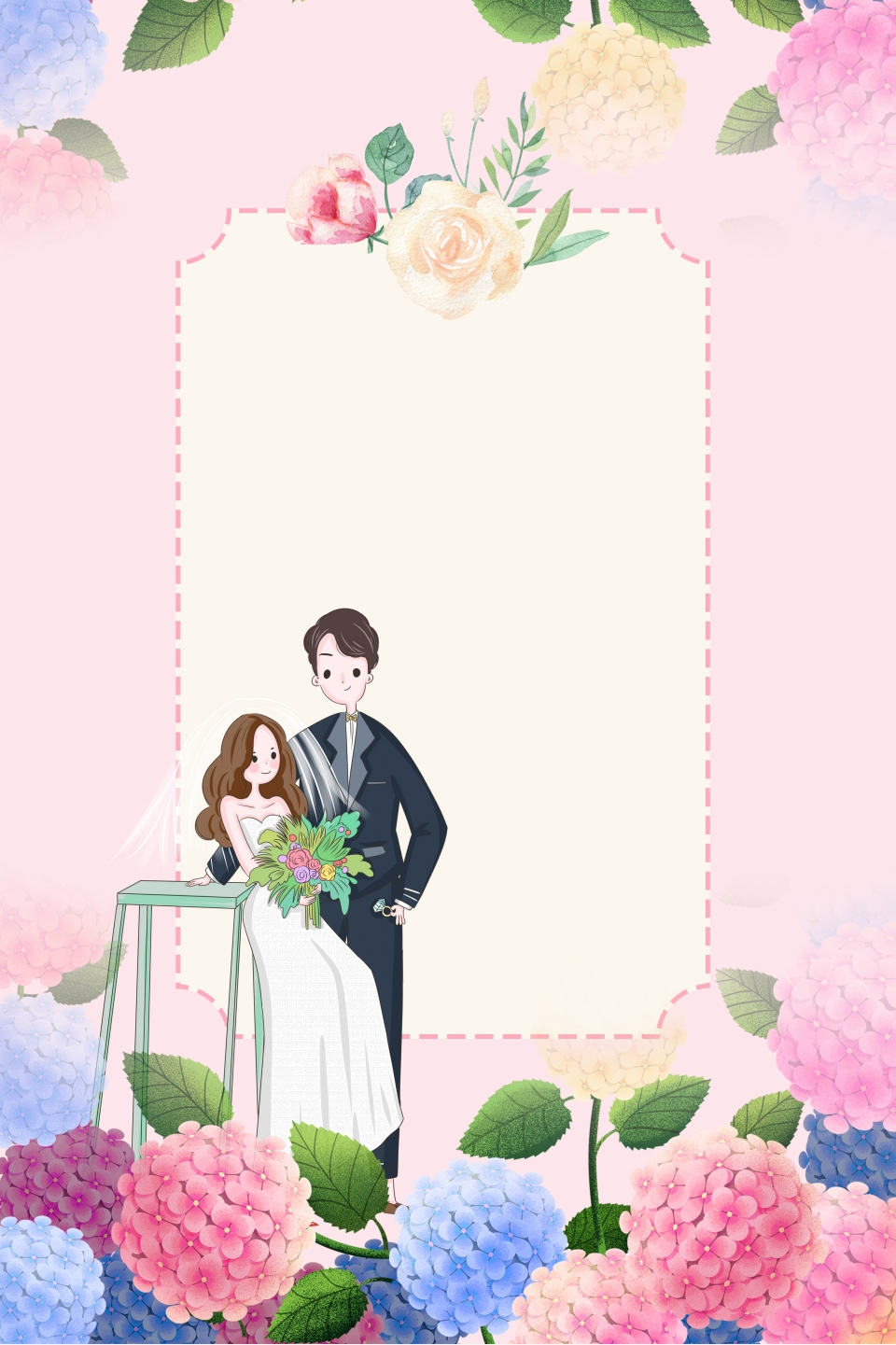 Romantic Floral Wedding Invitation Sign In The Office Poster