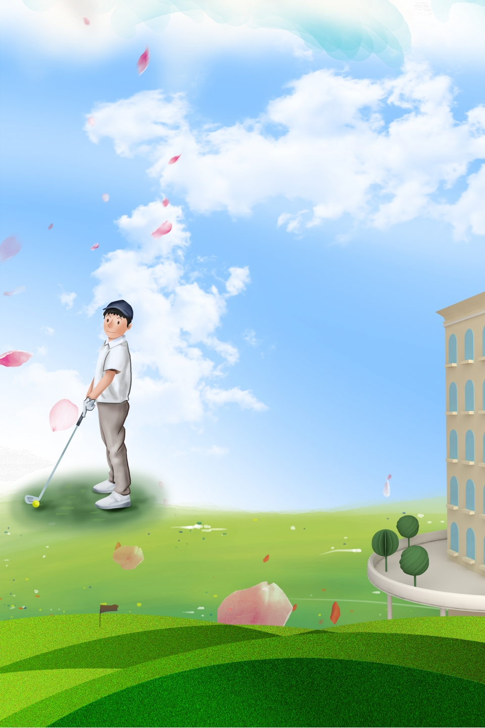 Simple Golf Course Tourism Source File H5 Background Material Simple Golf Golf Background Image For Free Download