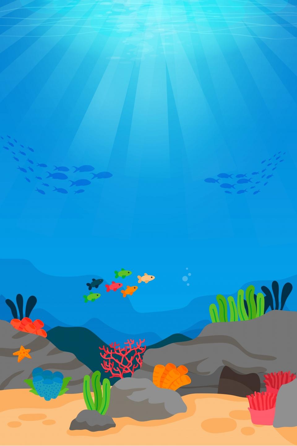 Gambar Templat Latar Belakang Dunia Bawah Laut Musim Panas Dunia Bawah Laut Musim Panas Yang Indah Hidupan Laut Ikan Laut Dalam Latar Belakang Untuk Muat Turun Percuma