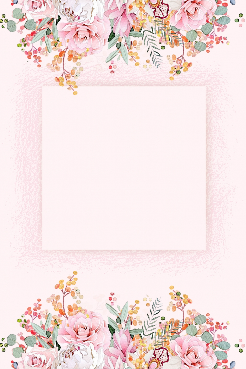 Vector Watercolor Hand Drawn Flowers Border Background