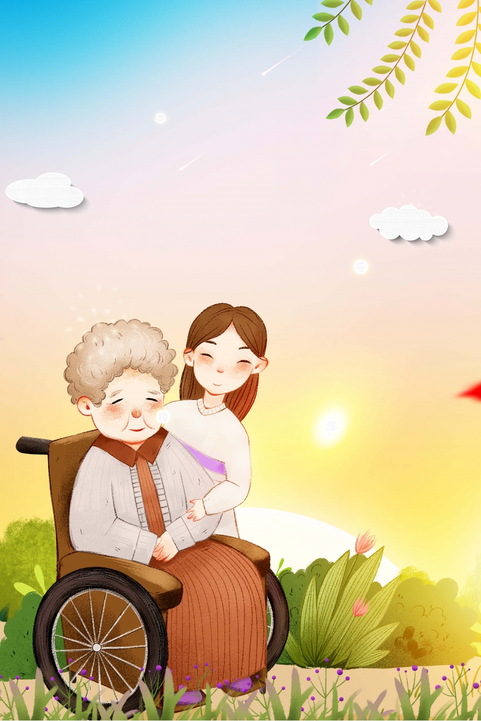 Warm And Warm Care For The Elderly Culture Propaganda Poster