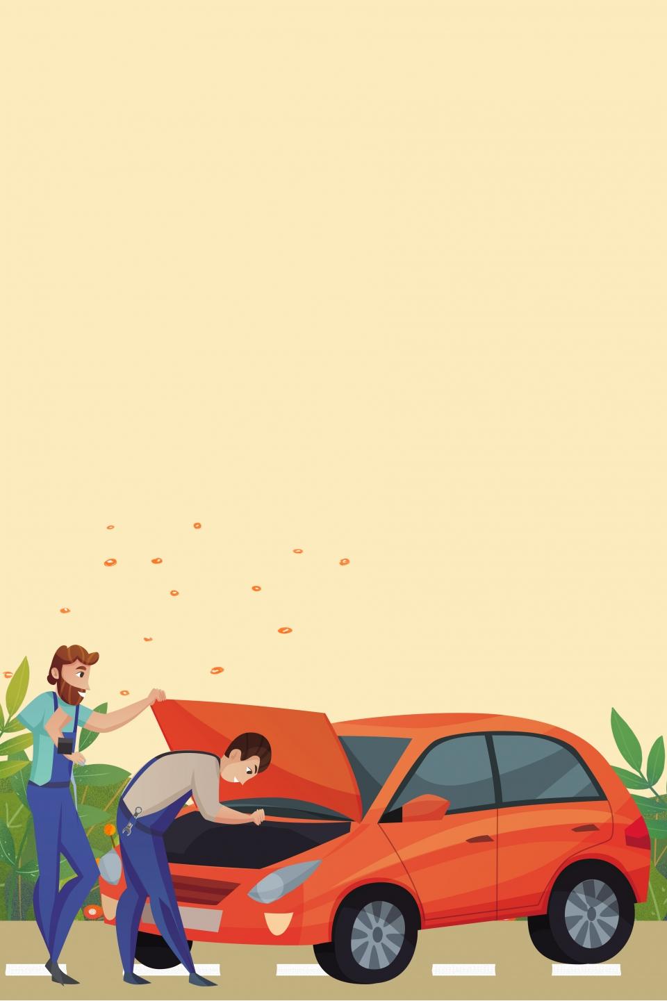 Car Repair And Maintenance >> Yellow Cartoon Vector Car Repair Beauty Background Material