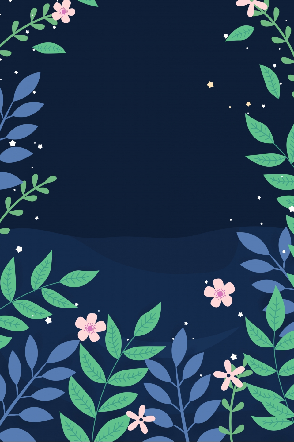 Beautiful Flowers And Plants Night Background Beautiful Night