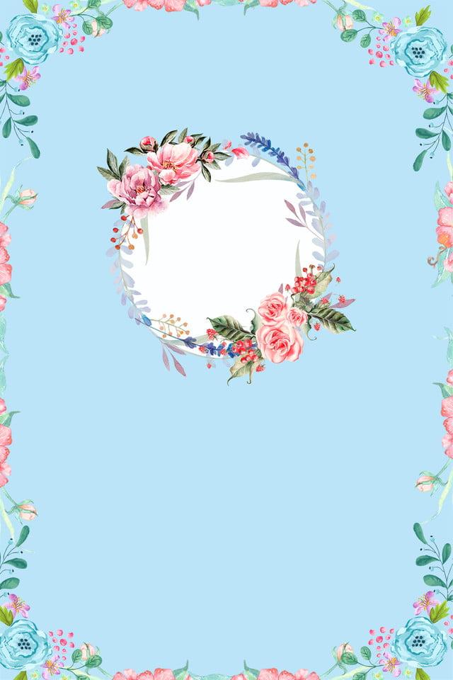 Blue Fresh Floral Wedding Invitation Poster Background Psd