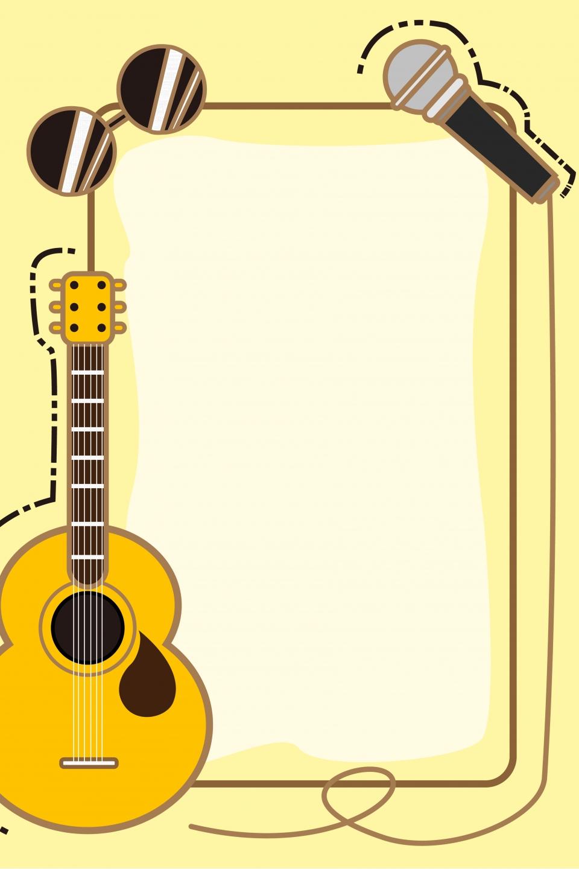 Cartoon Music Cute Guitar Poster Background, Cartoon ...