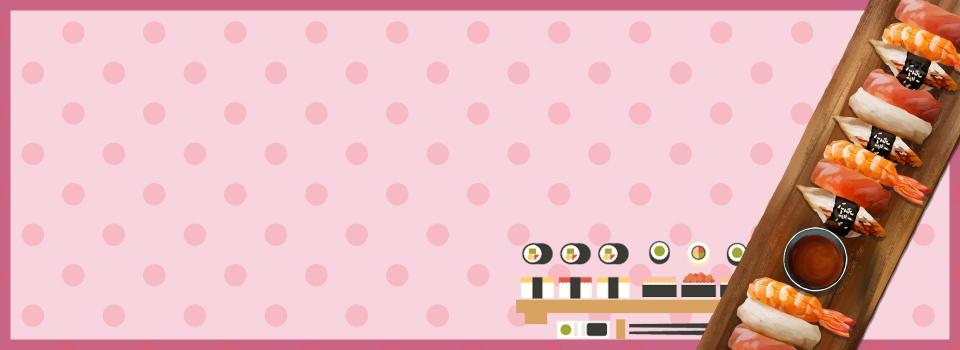 Delicious Japanese Sushi Cartoon Pink Background Japanese