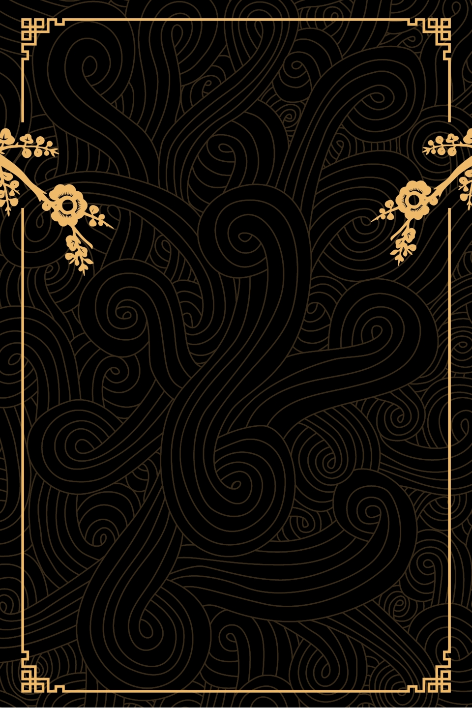 Elegant High End Black Antique Line Poster Background ...