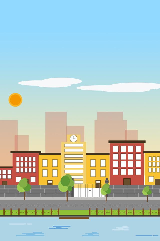 Flat Cartoon City Building Landscape Background, Simple
