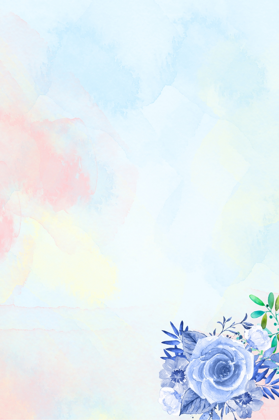Hand Painted Floral Watercolor Light Fresh Minimalist Background