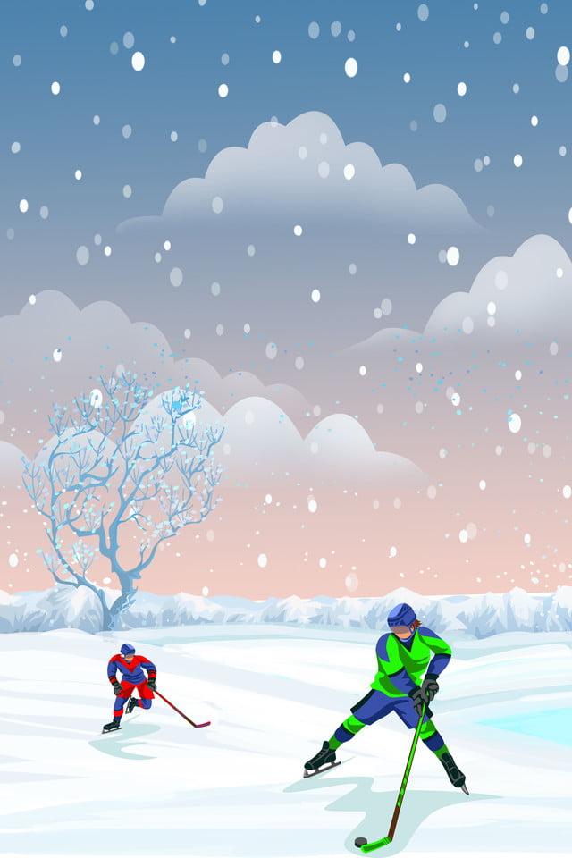 Ice Hockey Blue Cartoon Sport Athletic Poster Ice And Snow World