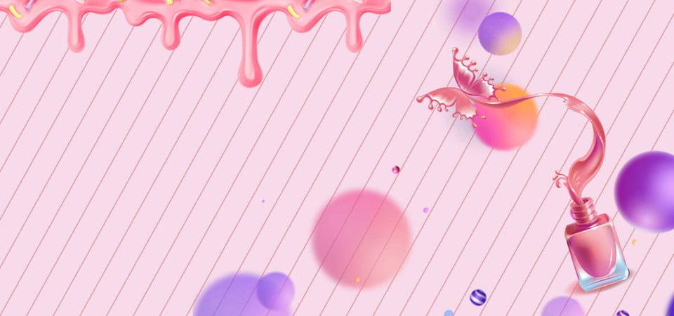 Manicure Nail Polish Pink Make Up Powder Banner Make Up Imagem De Plano De Fundo Para