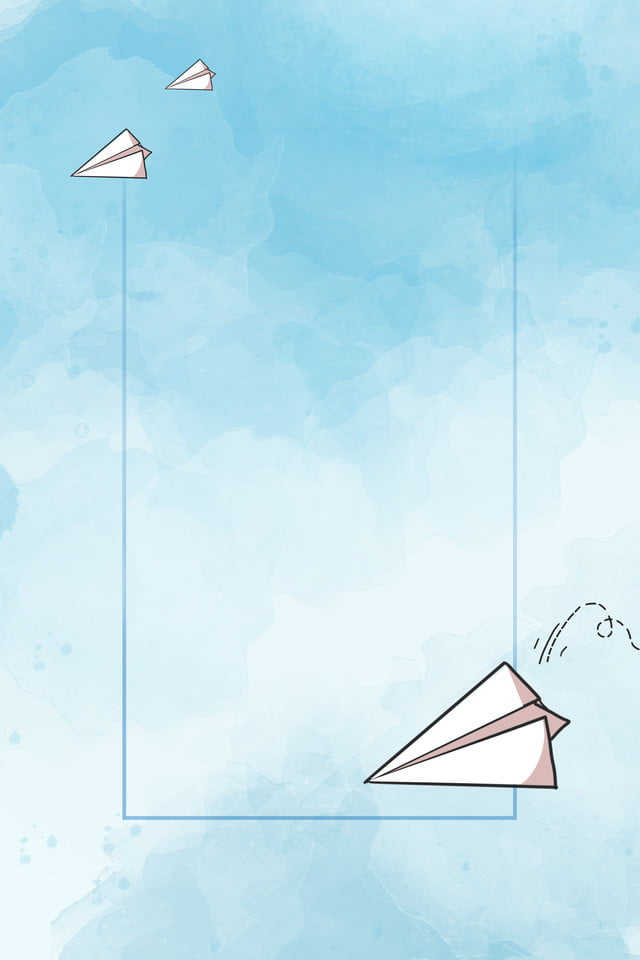 Paper Airplane Cartoon Blue Poster Ad H5 Background Paper Plane