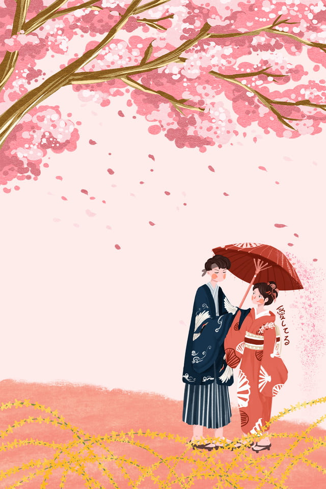 Pink Beautiful Cherry Blossom Festival Spring Travel Characters Background Pink Beautiful Cherry Blossom Festival Background Image For Free Download