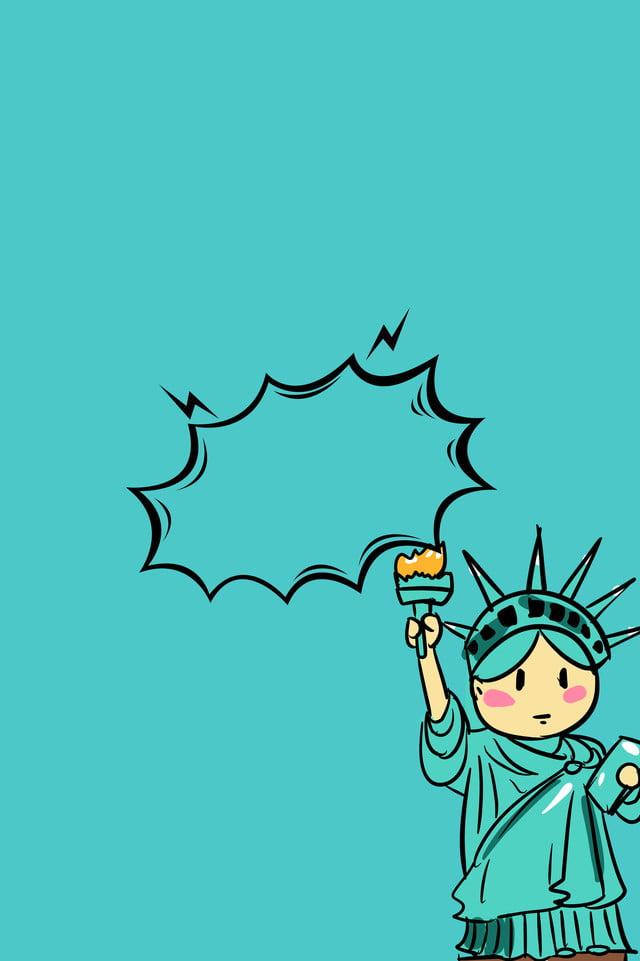 Simple And Funny Cartoon Statue Of Liberty H5 Background Simple