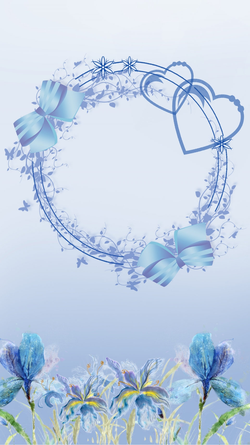 Simple Fresh Blue Floral Background Poster Simple Style Fresh