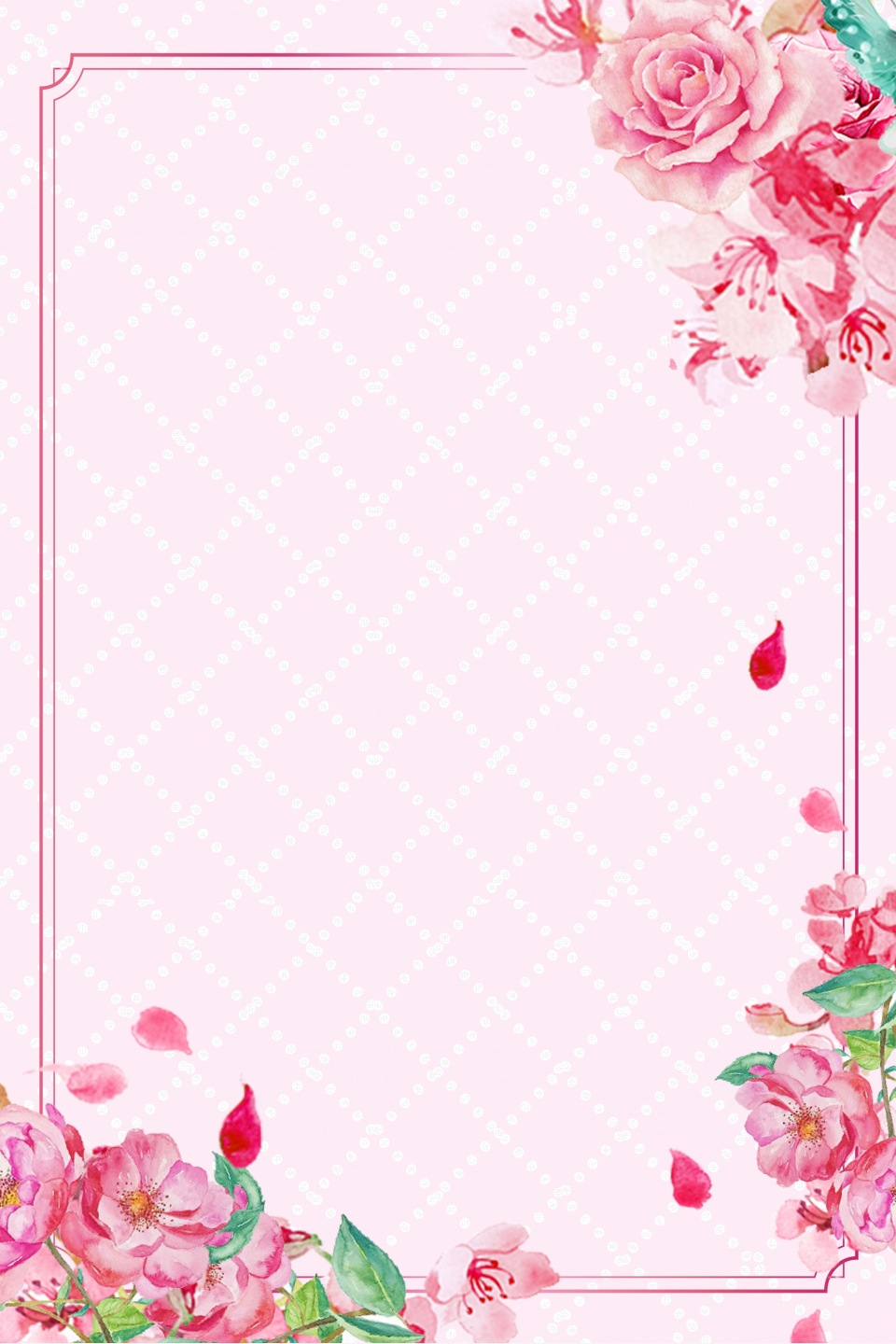 Small Fresh Background Hand Painted Floral Wedding Mat Card