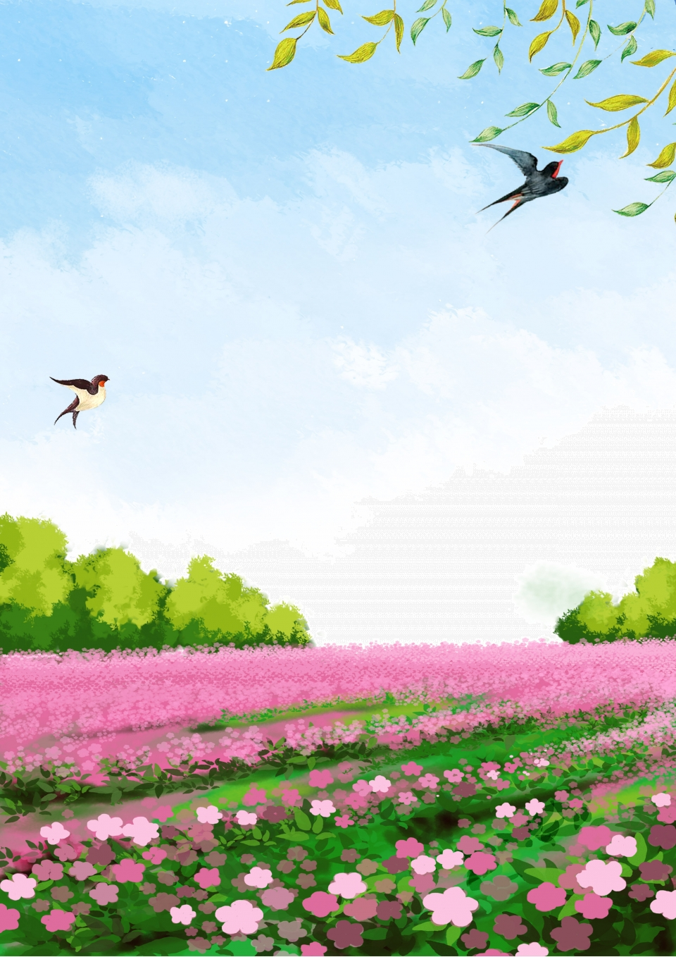 Spring Equinox Spring Flowers Field Background Illustration Spring Equinox Spring Flower Field Background Image For Free Download