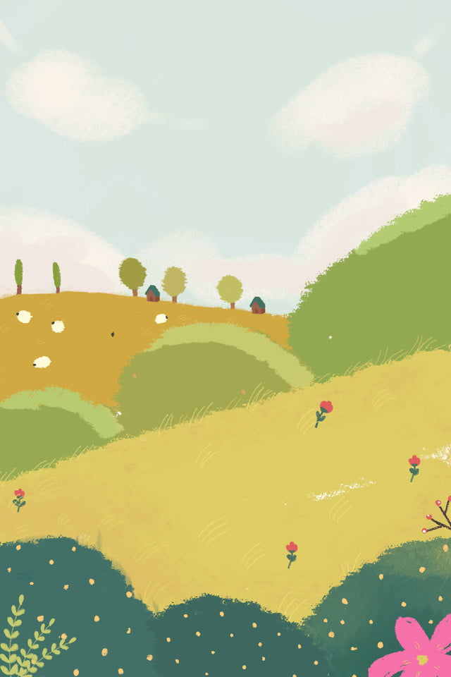 景物風景漂亮的風景綠色植物, 景物, 綠色植物, 卡通圖案背景圖片免費下載