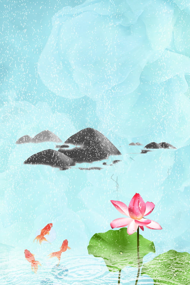 Blue Sky, Stone, Lotus, Fish, Rain, Clear Background, Blue