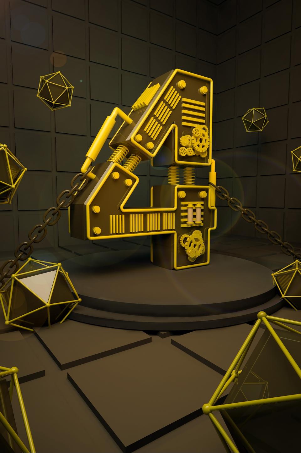 C4D Metal Texture Stereo Digital Countdown Background, C4D