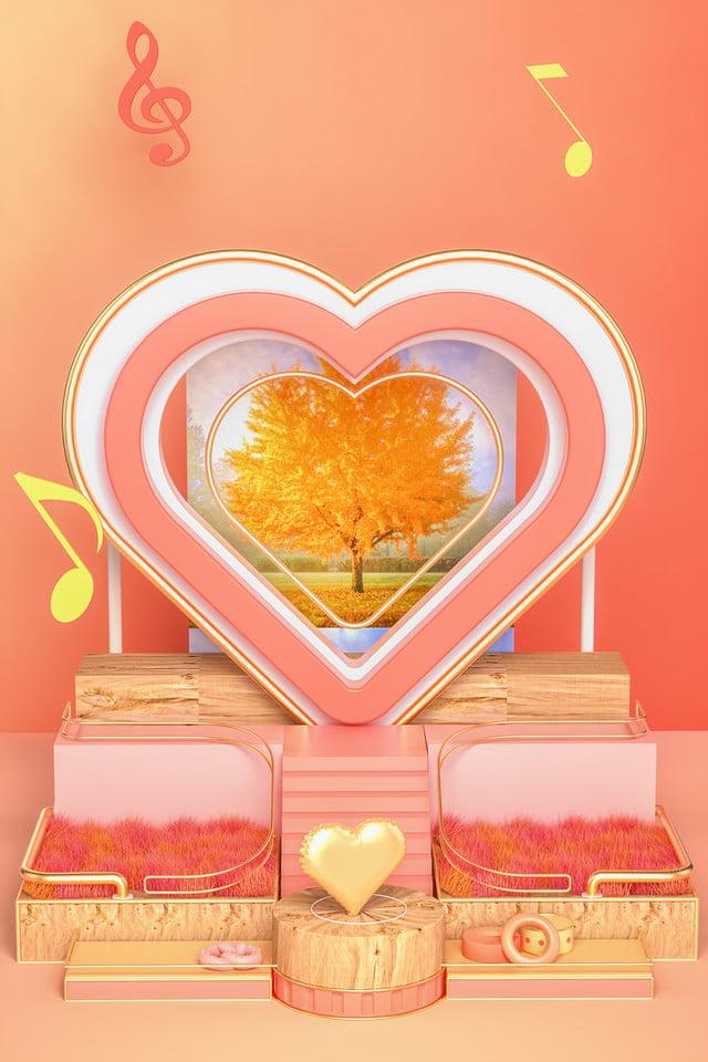 Melange Orange Et Rose amour stéréo c4d commerce électronique saint valentin
