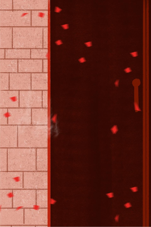Mur En Brique Rouge dessin animé mur de brique rouge festive, fond, mur de